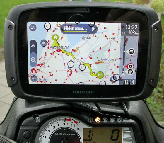 TomTom Rider 550 18 route Papendal
